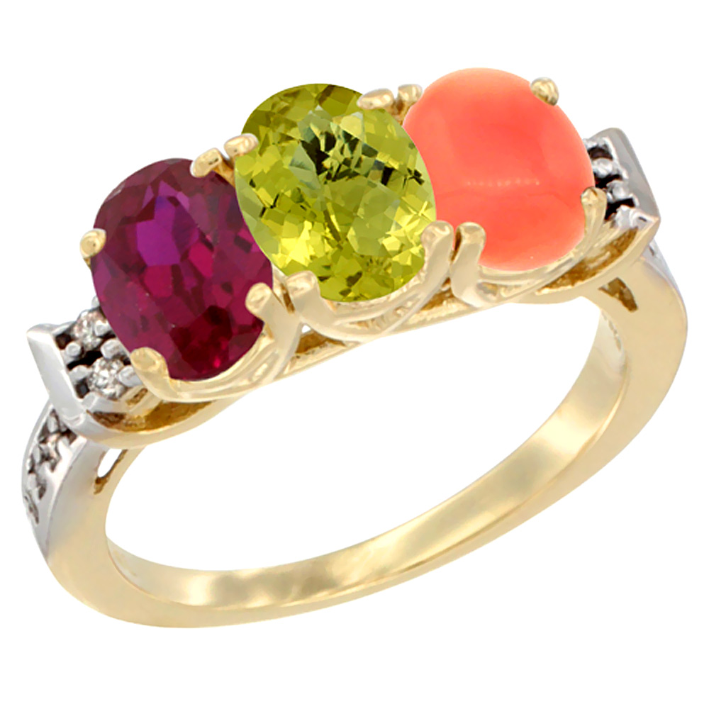 14K Yellow Gold Enhanced Ruby, Natural Lemon Quartz & Coral Ring 3-Stone Oval 7x5 mm Diamond Accent, sizes 5 - 10
