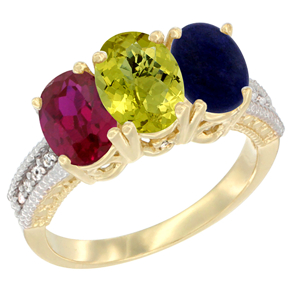 14K Yellow Gold Enhanced Ruby, Natural Lemon Quartz & Lapis Ring 3-Stone 7x5 mm Oval Diamond Accent, sizes 5 - 10