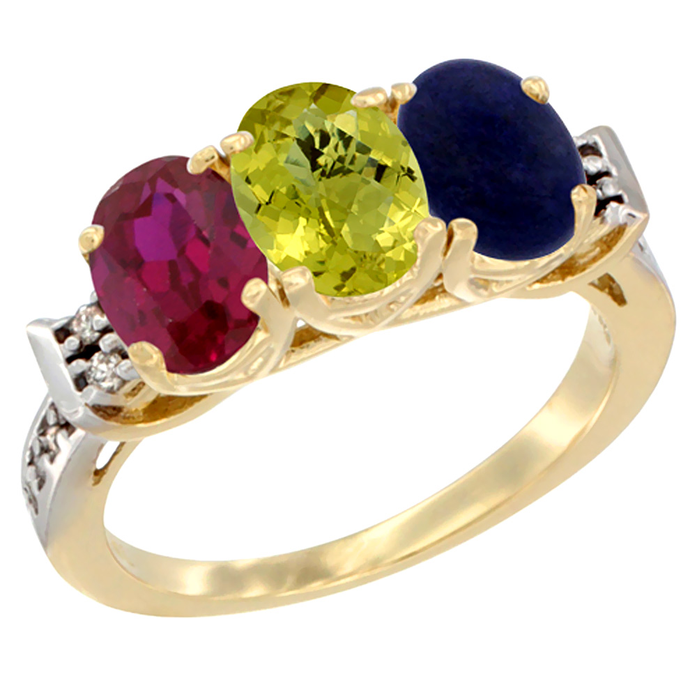 14K Yellow Gold Enhanced Ruby, Natural Lemon Quartz & Lapis Ring 3-Stone Oval 7x5 mm Diamond Accent, sizes 5 - 10
