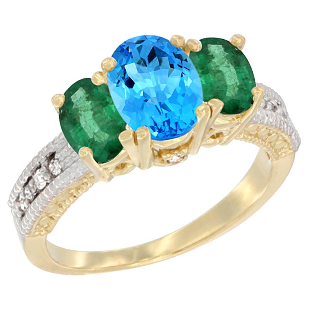14K Yellow Gold Diamond Natural Swiss Blue Topaz 7x5mm&6x4mm Quality EmeraldOval3-stoneMothersRing,sz5-10