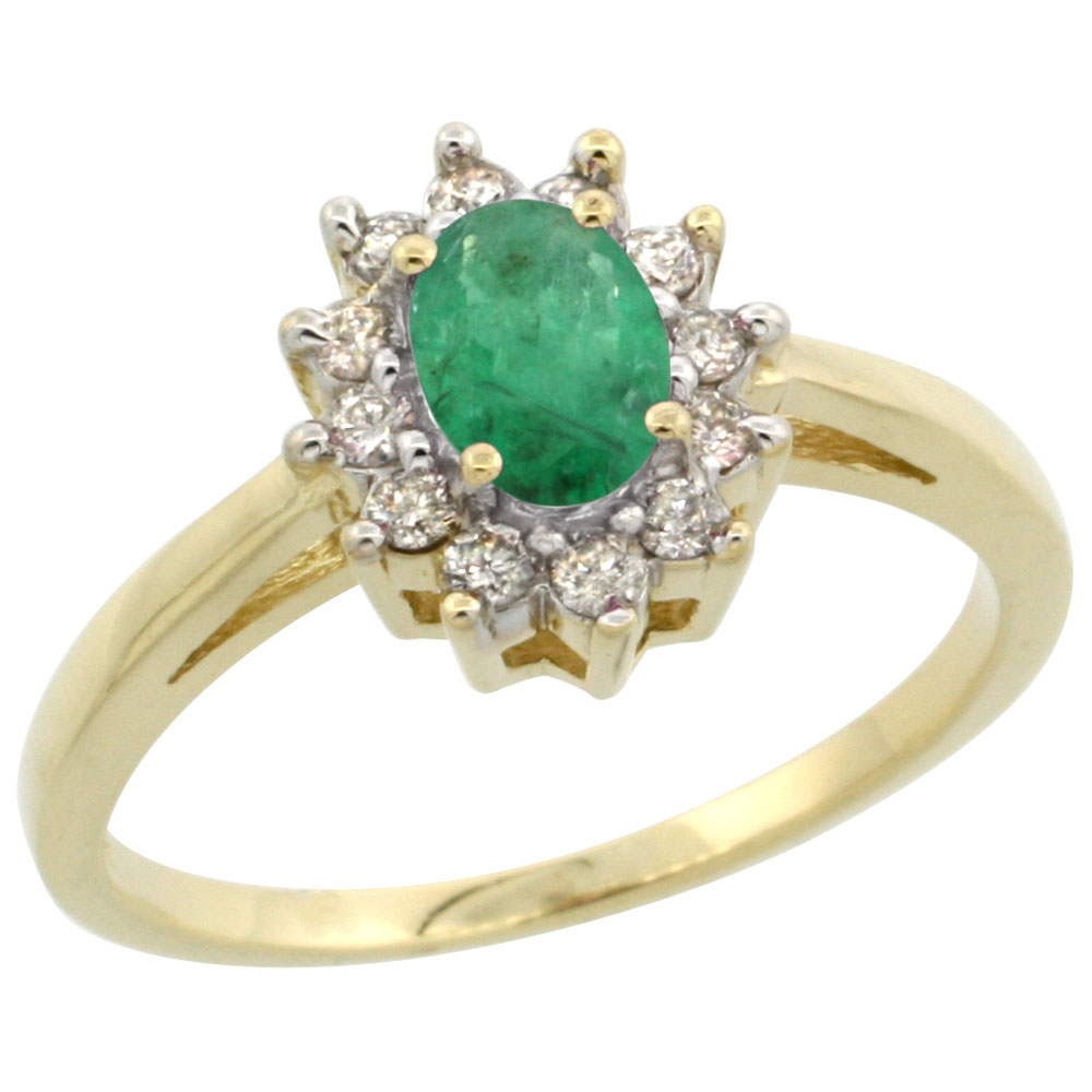 14K Yellow Gold Natural Emerald Flower Diamond Halo Ring Oval 6x4 mm, sizes 5 10