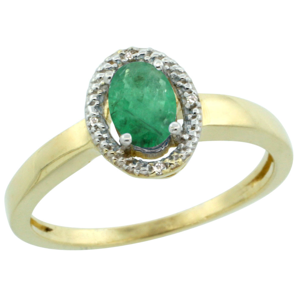 10K Yellow Gold Diamond Halo Natural Emerald Engagement Ring Oval 6X4 mm, sizes 5-10