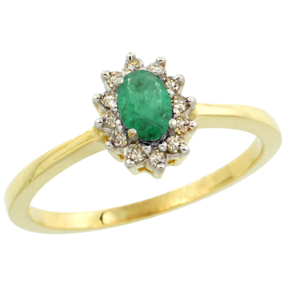 10k Yellow Gold Natural Cabochon Emerald Ring Oval 5x3mm Diamond Halo, sizes 5-10