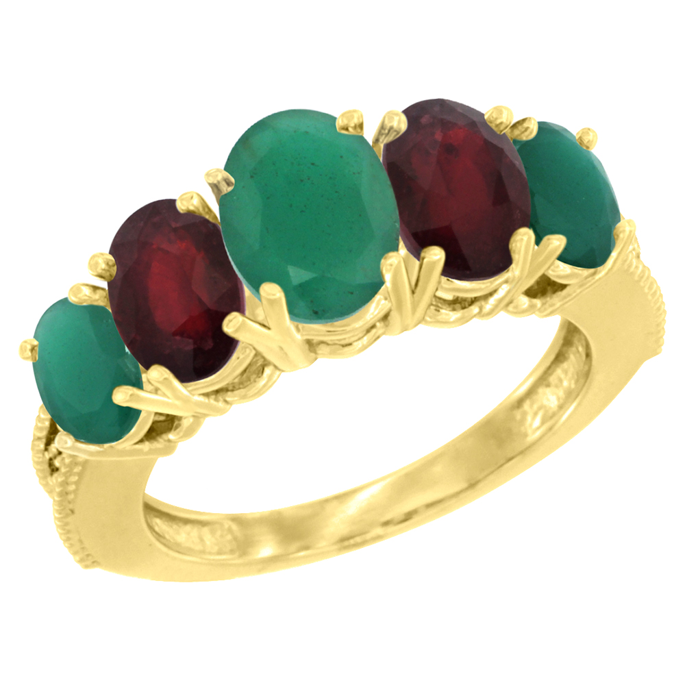 10K Yellow Gold Diamond Natural Emerald,Enhanced Genuine Ruby Ring 5-stone Oval 8x6 Ctr,7x5,6x4 sides, szs5-10