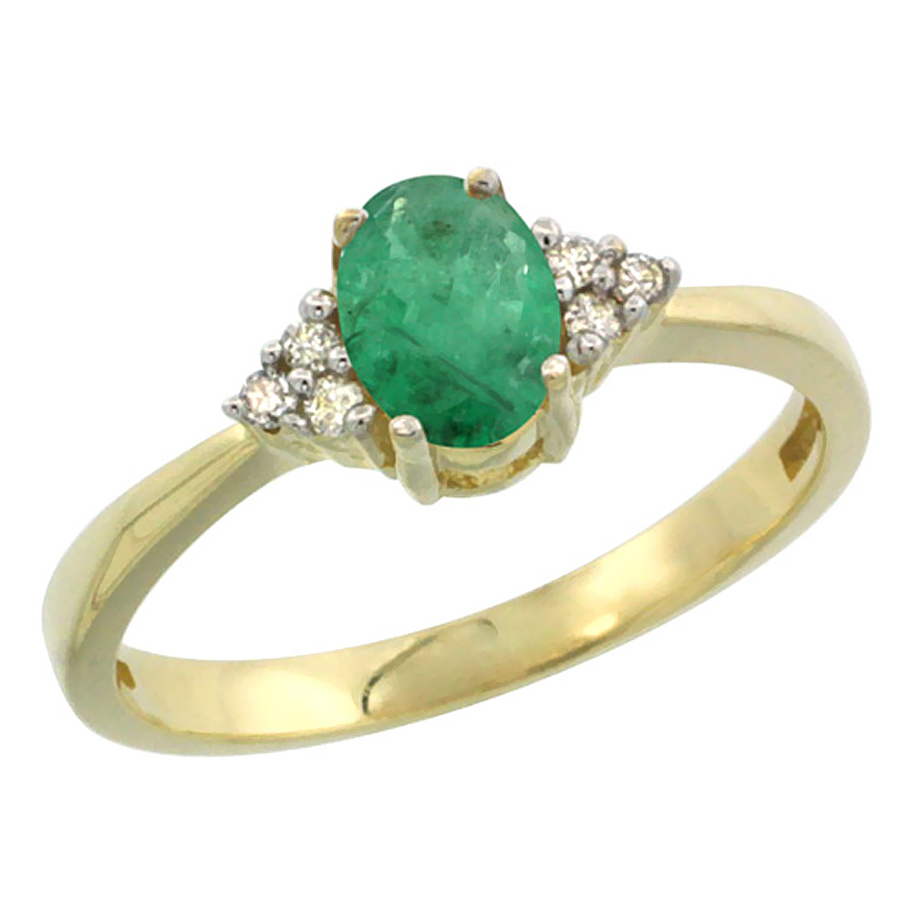 10K Yellow Gold Natural Emerald Ring Oval 6x4mm Diamond Accent, sizes 5-10