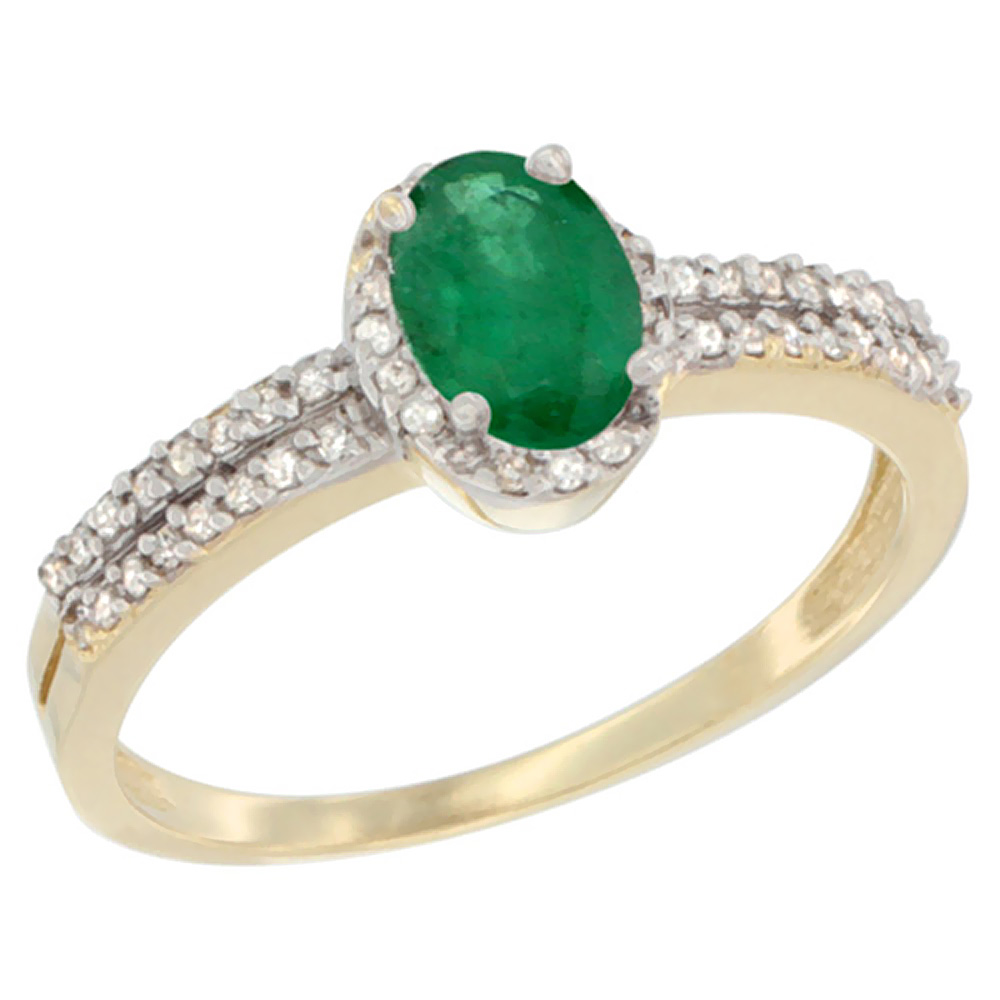 10K Yellow Gold Natural Cabochon Emerald Ring Oval 6x4mm Diamond Accent, sizes 5-10