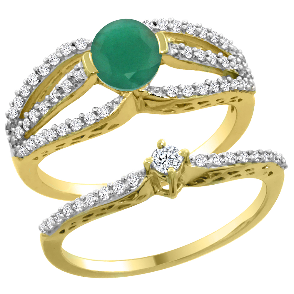 14K Yellow Gold Natural Emerald 2-piece Engagement Ring Set Round 5mm, sizes 5 - 10