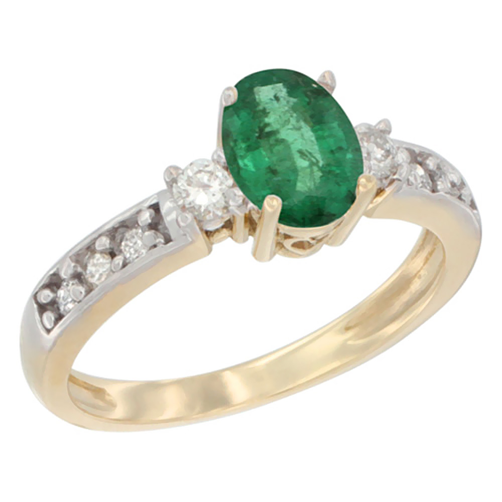 14K Yellow Gold Natural Emerald Ring Oval 7x5 mm Diamond Accent, sizes 5 - 10