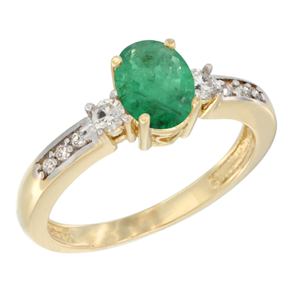 14K Yellow Gold Diamond Natural Emerald Engagement Ring Oval 7x5 mm, sizes 5 - 10