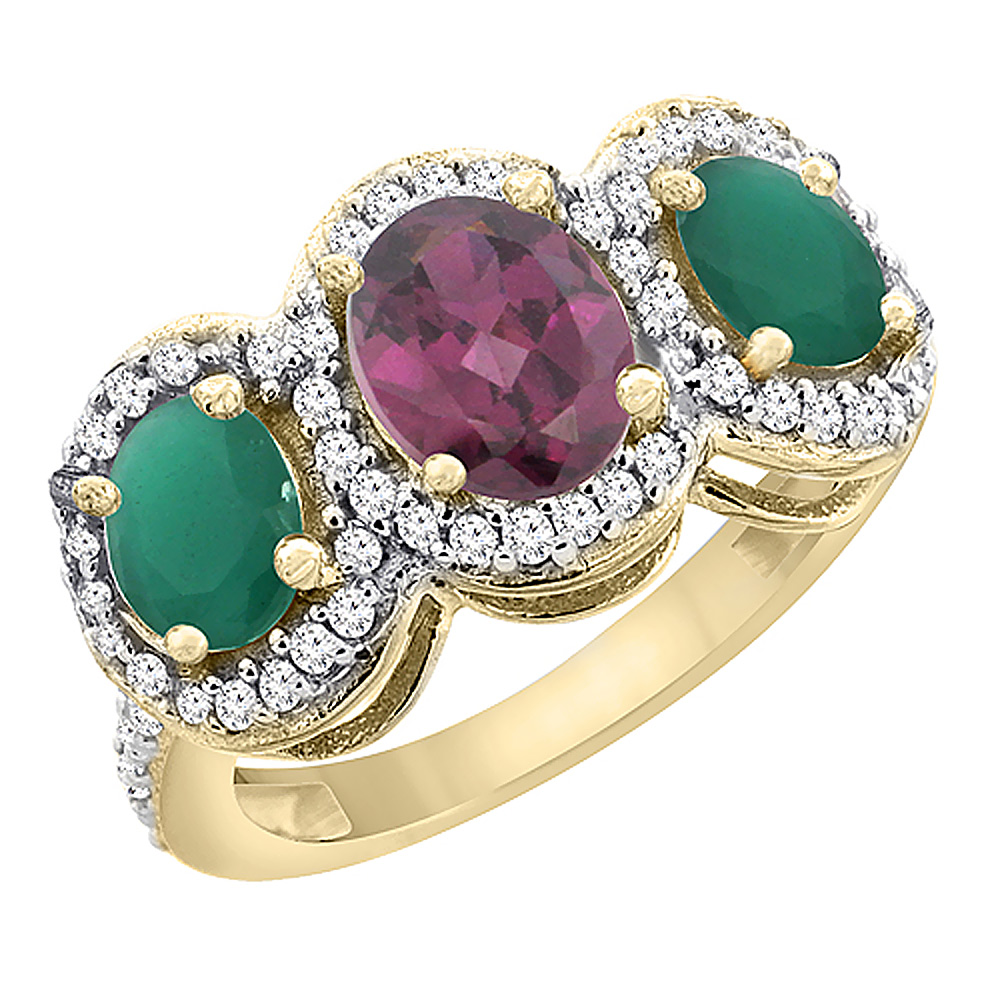 10K Yellow Gold Natural Rhodolite & Emerald 3-Stone Ring Oval Diamond Accent, sizes 5 - 10