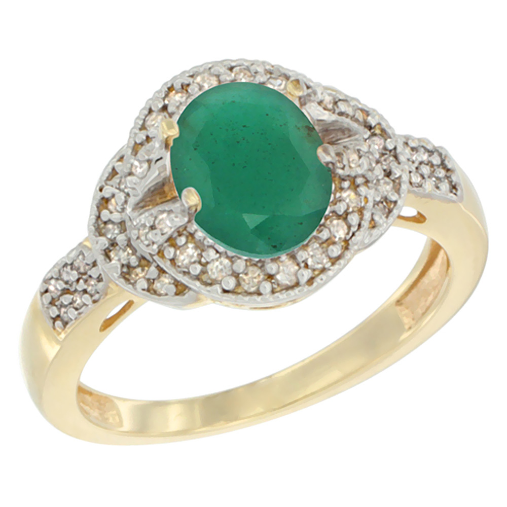10K Yellow Gold Natural Cabochon Emerald Ring Oval 8x6 mm Diamond Accent, sizes 5 - 10