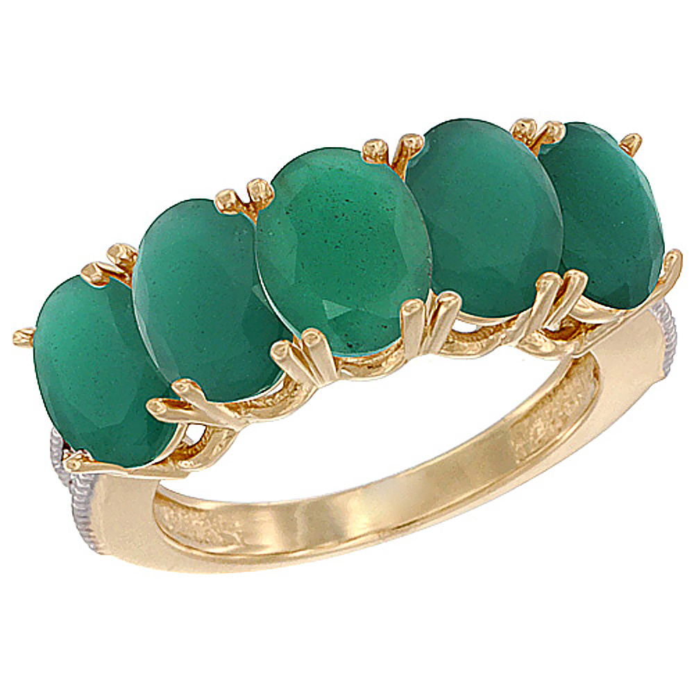 10K Yellow Gold Natural Emerald 1 ct. Oval 7x5mm 5-Stone Mother's Ring with Diamond Accents, sizes 5 to 10 with half sizes