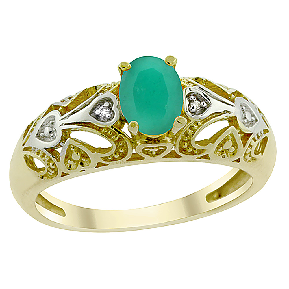14K Yellow Gold Natural Emerald Ring Oval 6x4 mm Diamond Accent, sizes 5 - 10