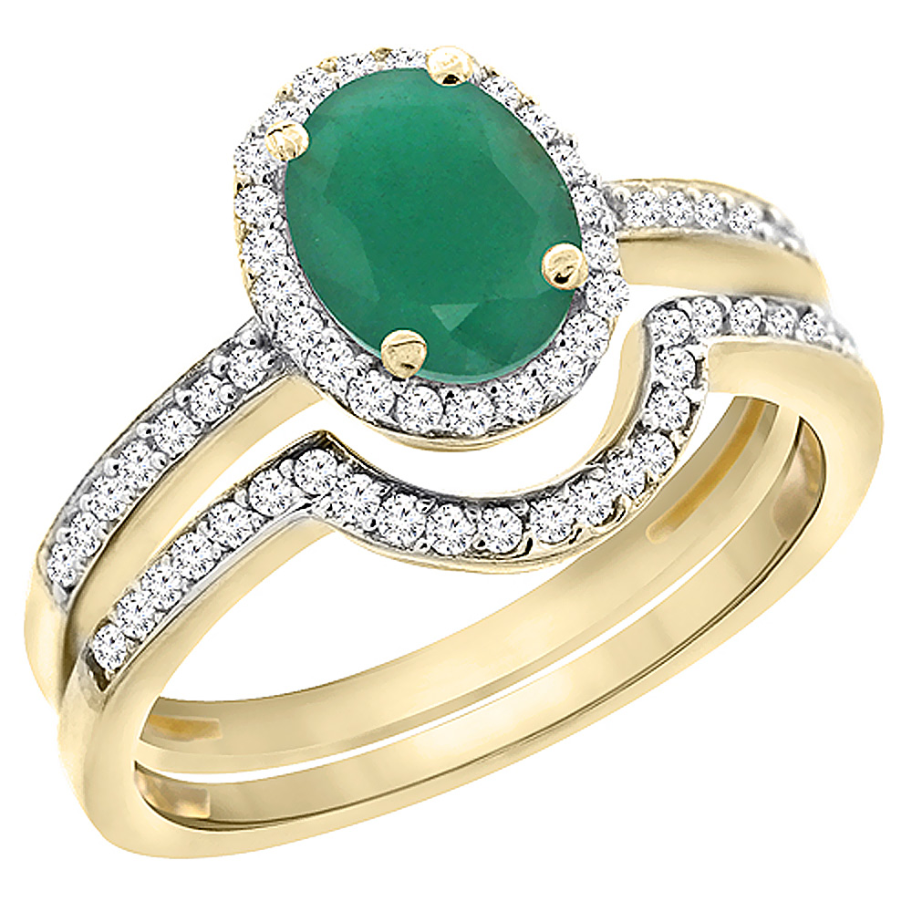 14K Yellow Gold Diamond Natural Emerald 2-Pc. Engagement Ring Set Oval 8x6 mm, sizes 5 - 10