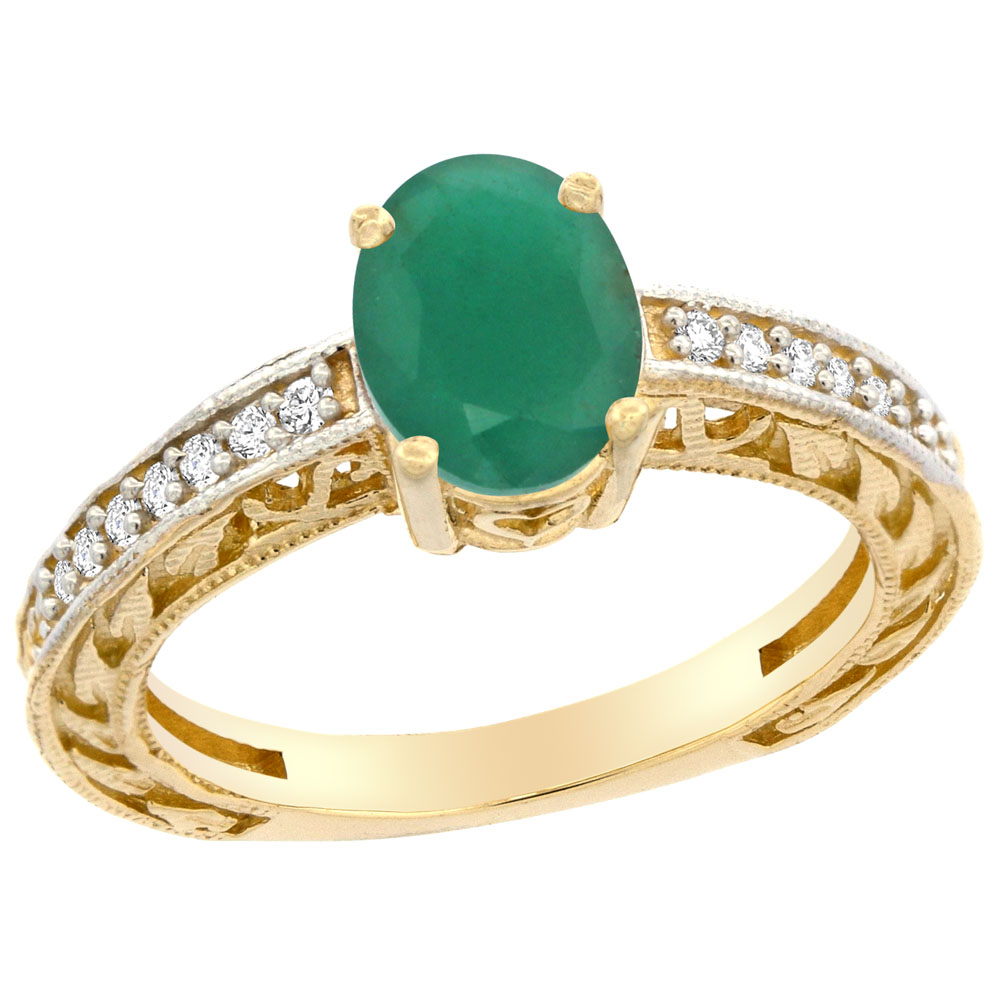 14K Gold Natural Cabochon Emerald Ring Oval 8x6 mm Diamond Accents, sizes 5 - 10