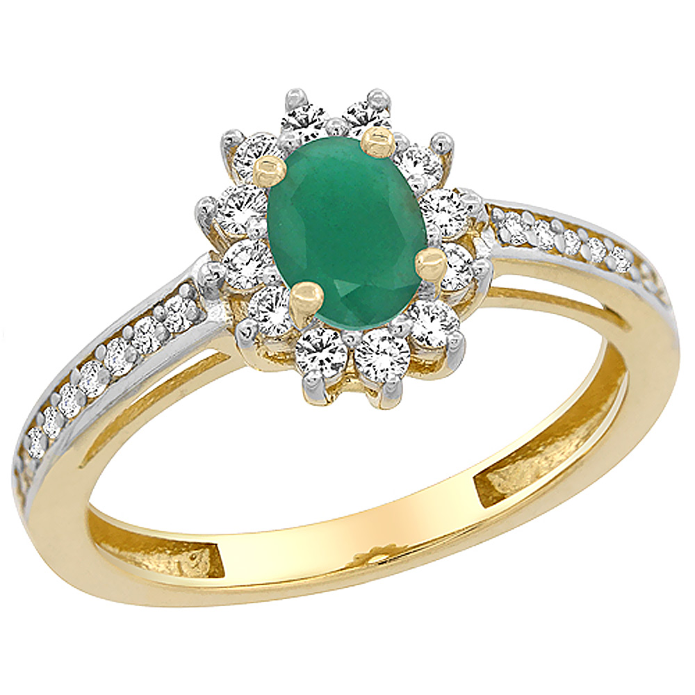 14K Yellow Gold Natural Emerald Flower Halo Ring Oval 6x4mm Diamond Accents, sizes 5 - 10