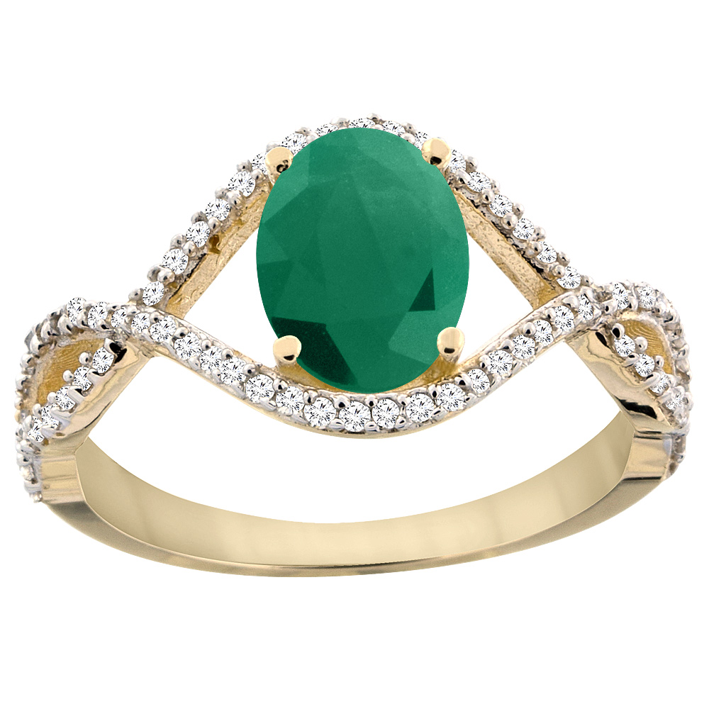 14K Yellow Gold Natural Cabochon Emerald Ring Oval 8x6 mm Infinity Diamond Accents, sizes 5 - 10