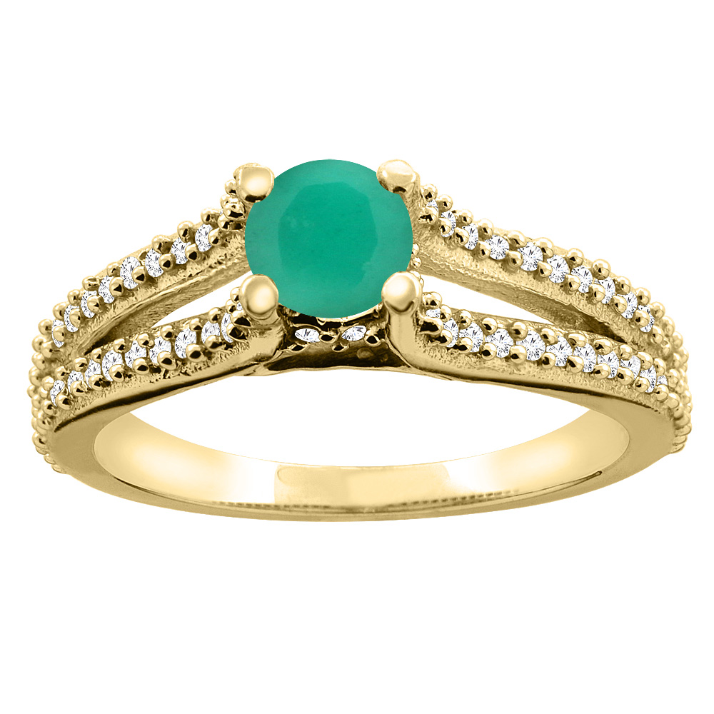 10K Yellow Gold Natural Emerald Engagement Split Shank Ring Round 5mm Diamond Accents, sizes 5 - 10