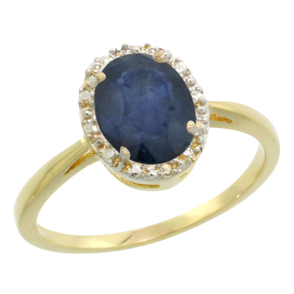 14K Yellow Gold Natural Blue Sapphire Diamond Halo Ring Oval 8X6mm, sizes 5 10