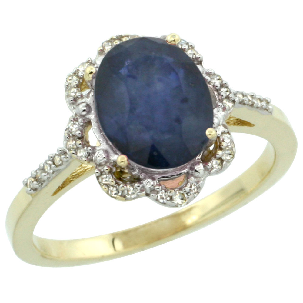 10K Yellow Gold Diamond Halo Natural Blue Sapphire Engagement Ring Oval 9x7mm, sizes 5-10