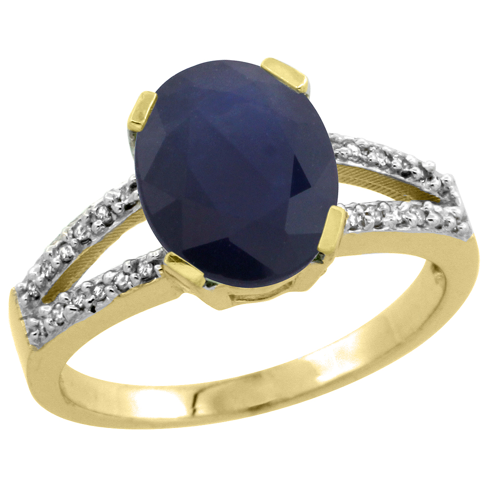 10K Yellow Gold Diamond Natural Blue Sapphire Engagement Ring Oval 10x8mm, sizes 5-10