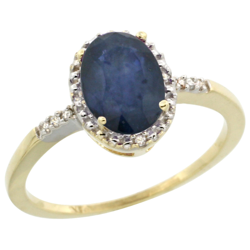 14K Yellow Gold Natural Diamond Blue Sapphire Ring Oval 8x6mm, sizes 5-10