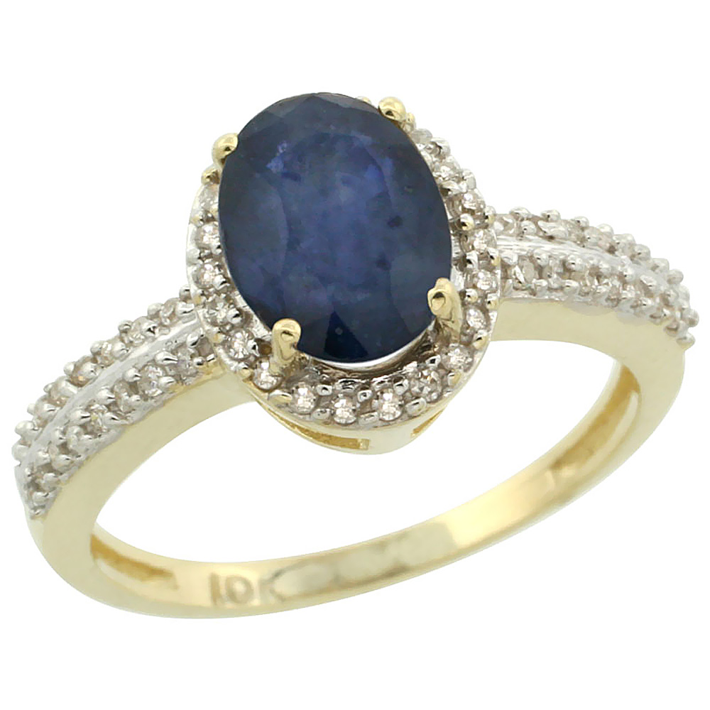 14K Yellow Gold Natural Blue Sapphire Ring Oval 8x6mm Diamond Halo, sizes 5-10