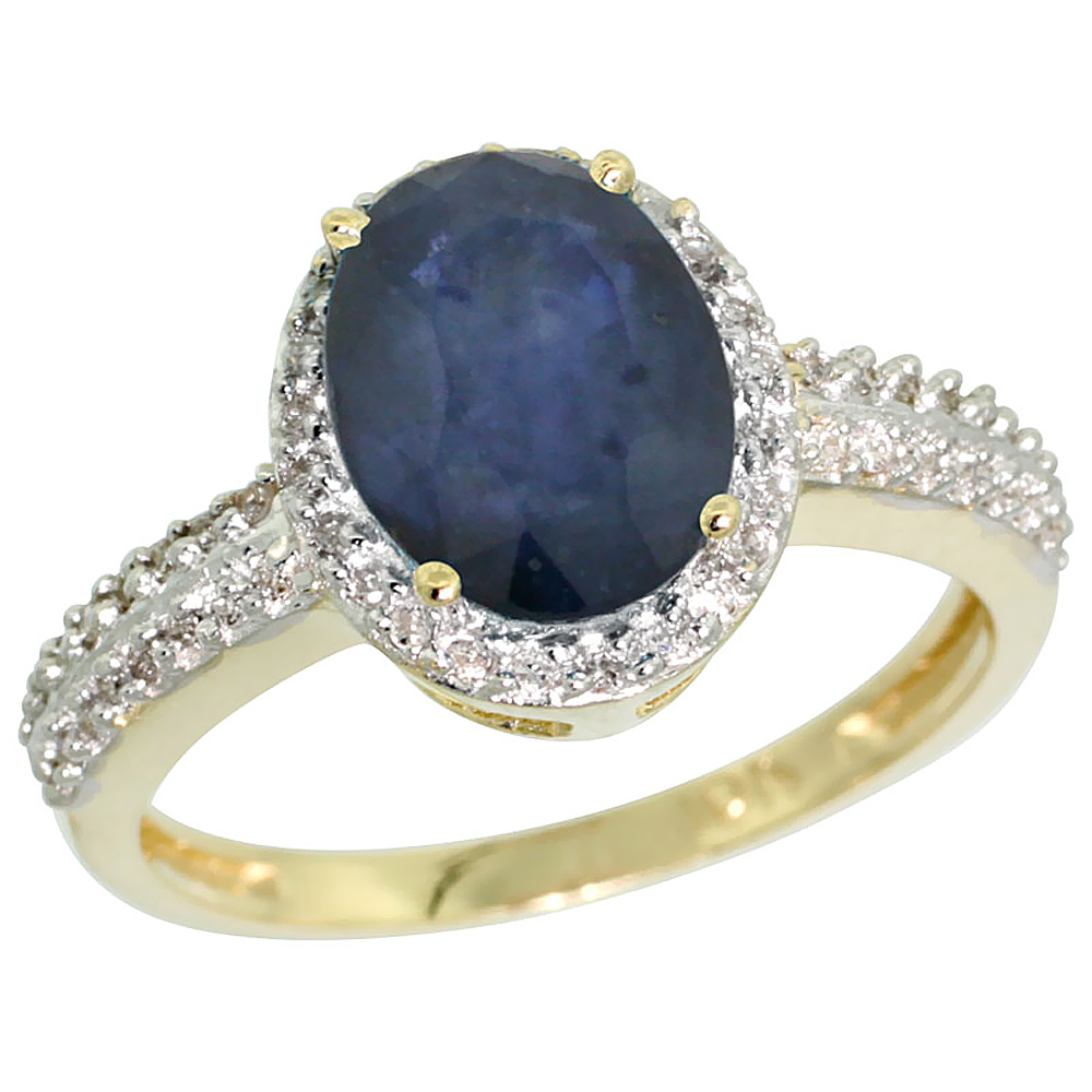 10K Yellow Gold Diamond Natural Blue Sapphire Ring Oval 9x7mm, sizes 5-10