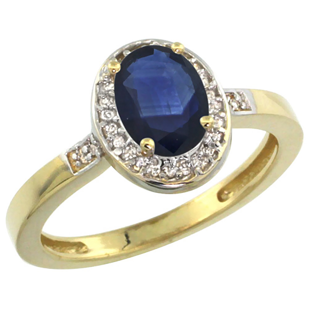 14K Yellow Gold Diamond Natural Blue Sapphire Engagement Ring Oval 7x5mm, sizes 5-10