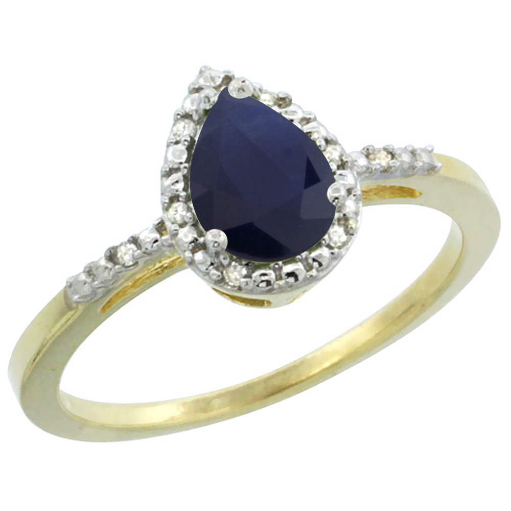 10K Yellow Gold Diamond Natural Blue Sapphire Ring Pear 7x5mm, sizes 5-10