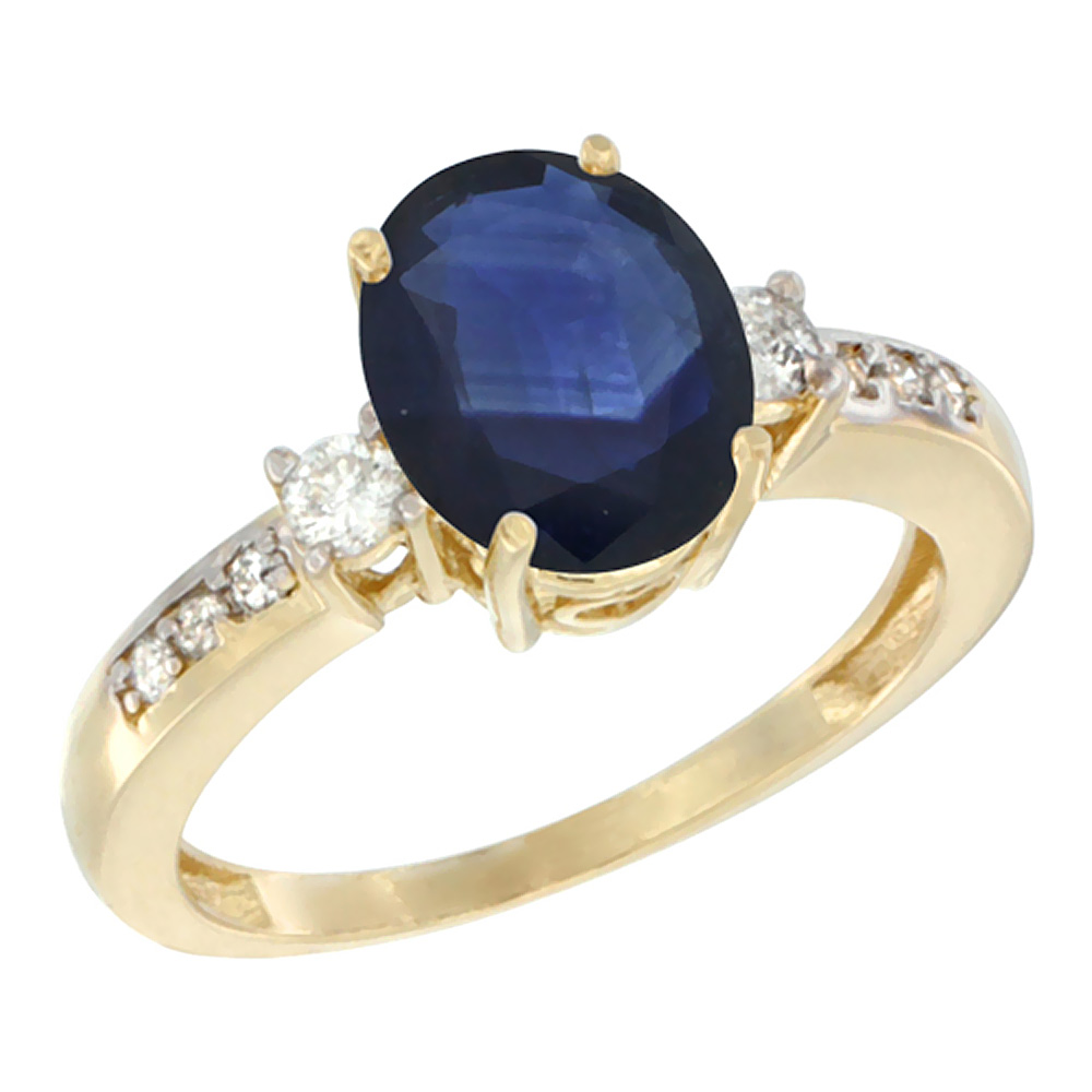 10k Yellow Gold Natural Diffused Ceylon Sapphire Ring Oval 9x7 mm Diamond Accent, sizes 5 - 10