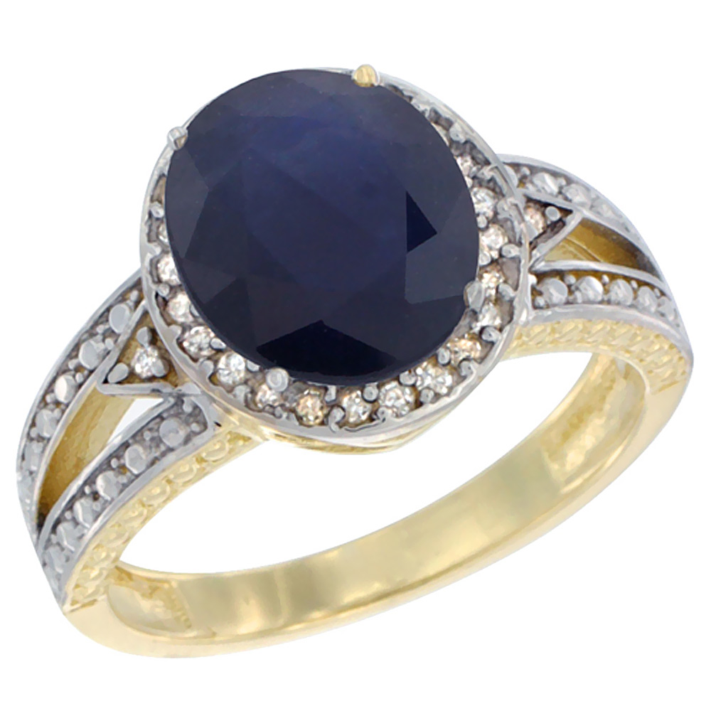14K Yellow Gold Natural Diffused Ceylon Sapphire Ring Oval 9x7 mm Diamond Halo, sizes 5 - 10