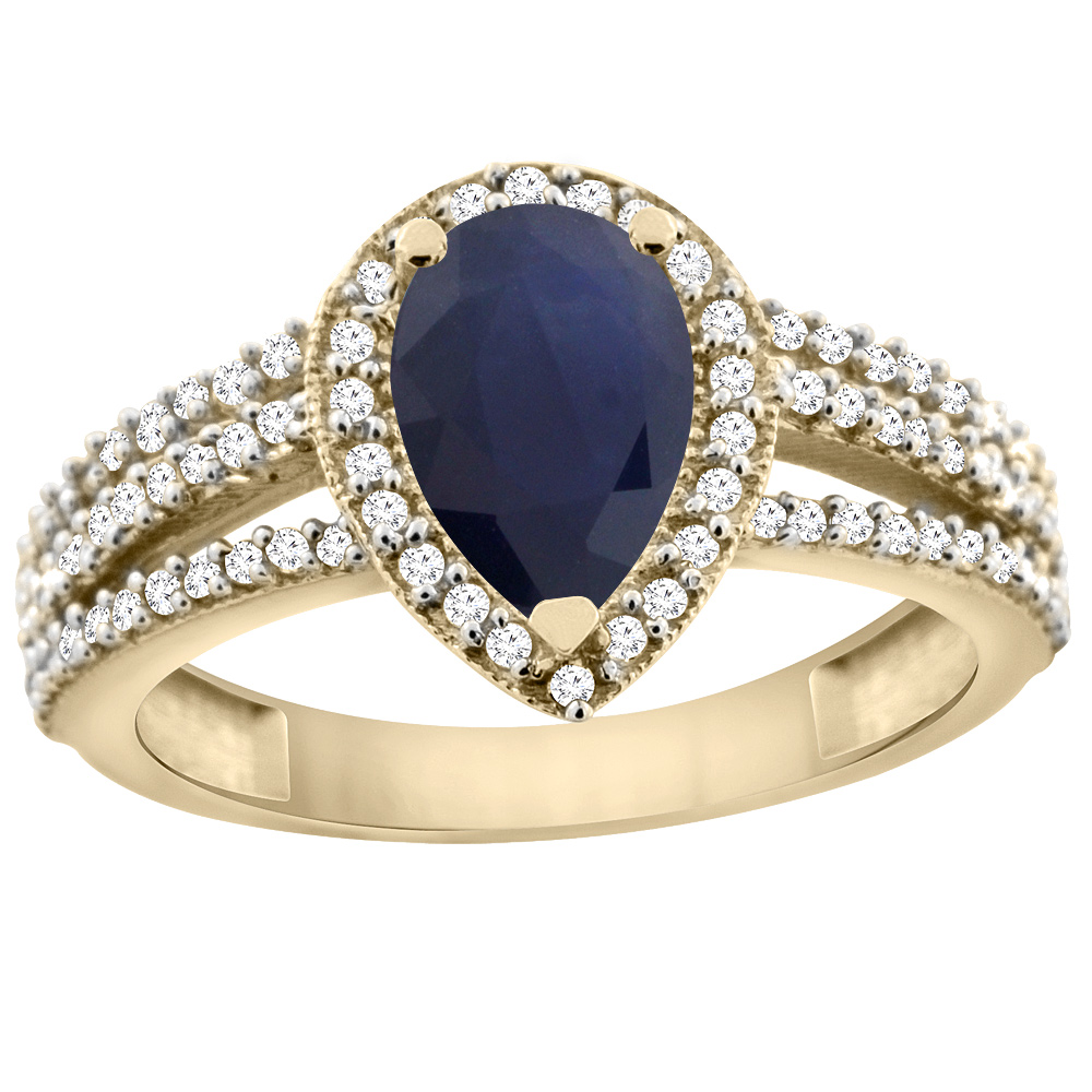 10K Yellow Gold Natural Diffused Ceylon Sapphire Ring 9x7 Pear Halo Diamond, sizes 5 - 10