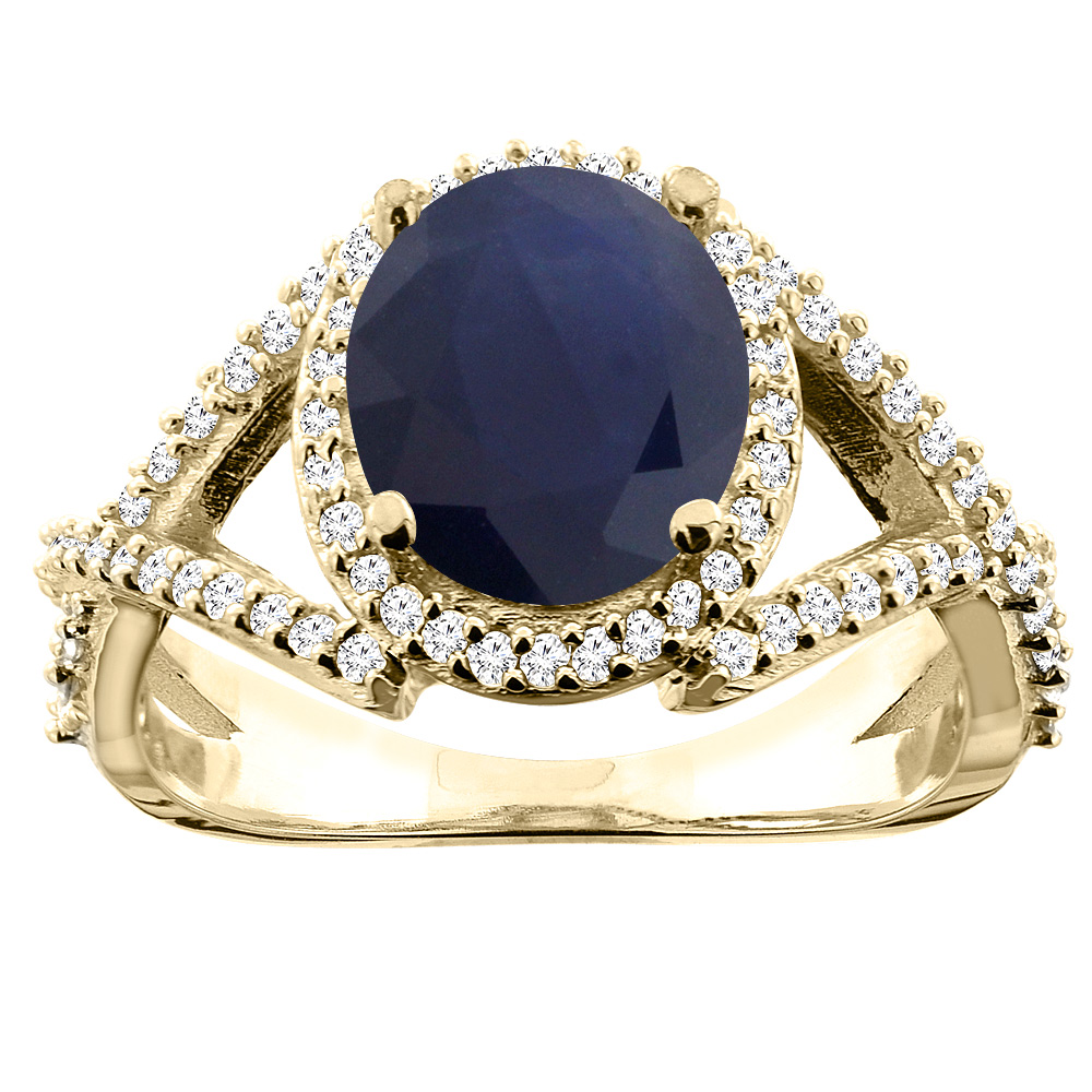 14K Yellow Gold Natural Diffused Ceylon Sapphire Ring Oval 9x7mm Diamond Accent, size 5