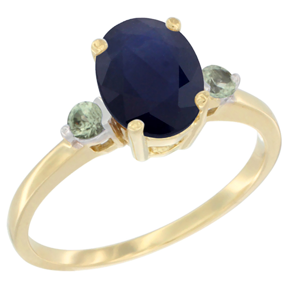 10K Yellow Gold Natural Diffused Ceylon Sapphire Ring Oval 9x7 mm Green Sapphire Accent, sizes 5 to 10