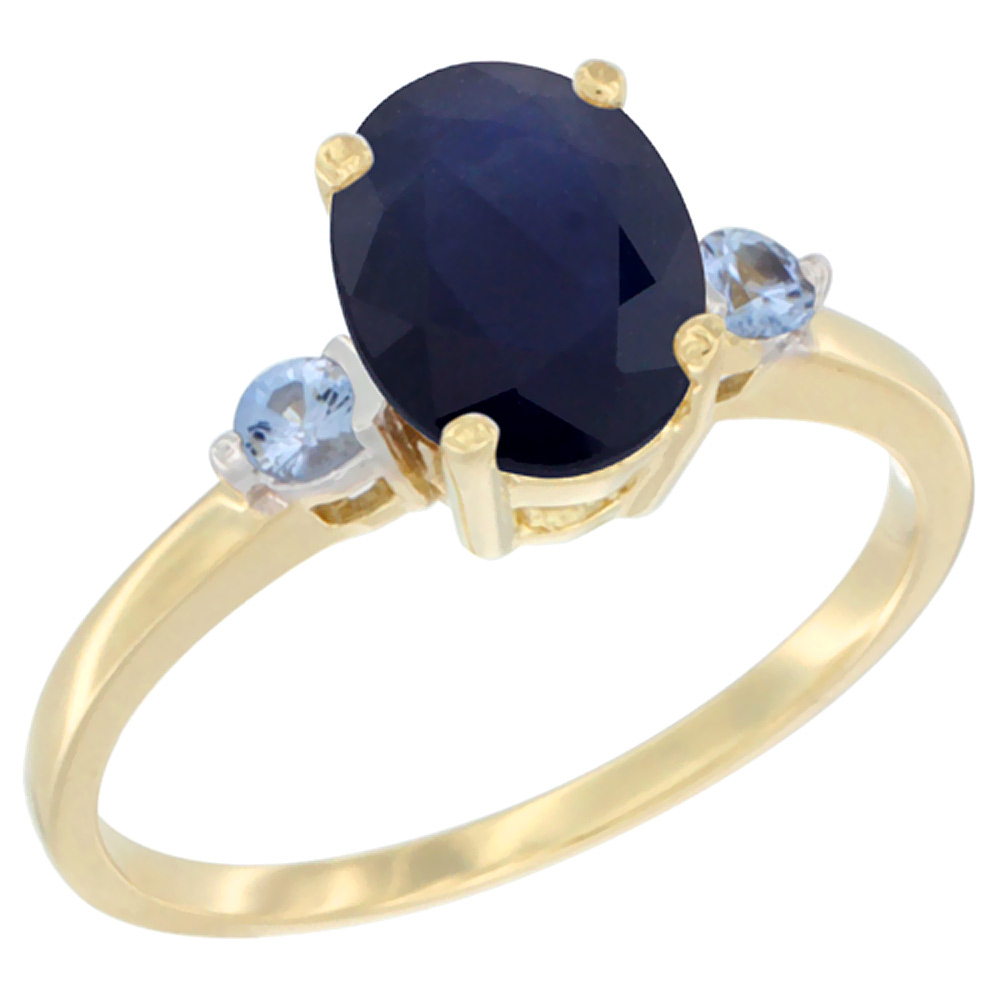 14K Yellow Gold Natural Diffused Ceylon Sapphire Ring Oval 9x7 mm Light Blue Sapphire Accent, sizes 5 to 10