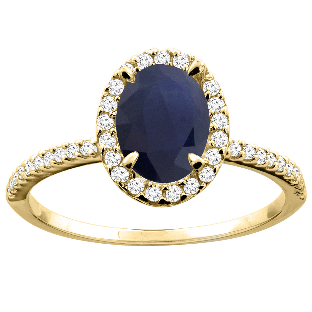 10K White/Yellow Gold Natural Australian Sapphire Ring Oval 8x6mm Diamond Accent, sizes 5 - 10