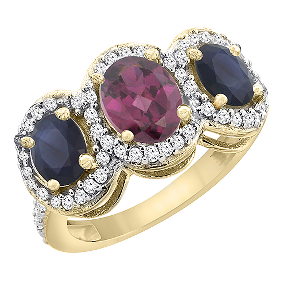 10K Yellow Gold Natural Rhodolite & Quality Blue Sapphire 3-stone Mothers Ring Oval Diamond Accent,sz5-10