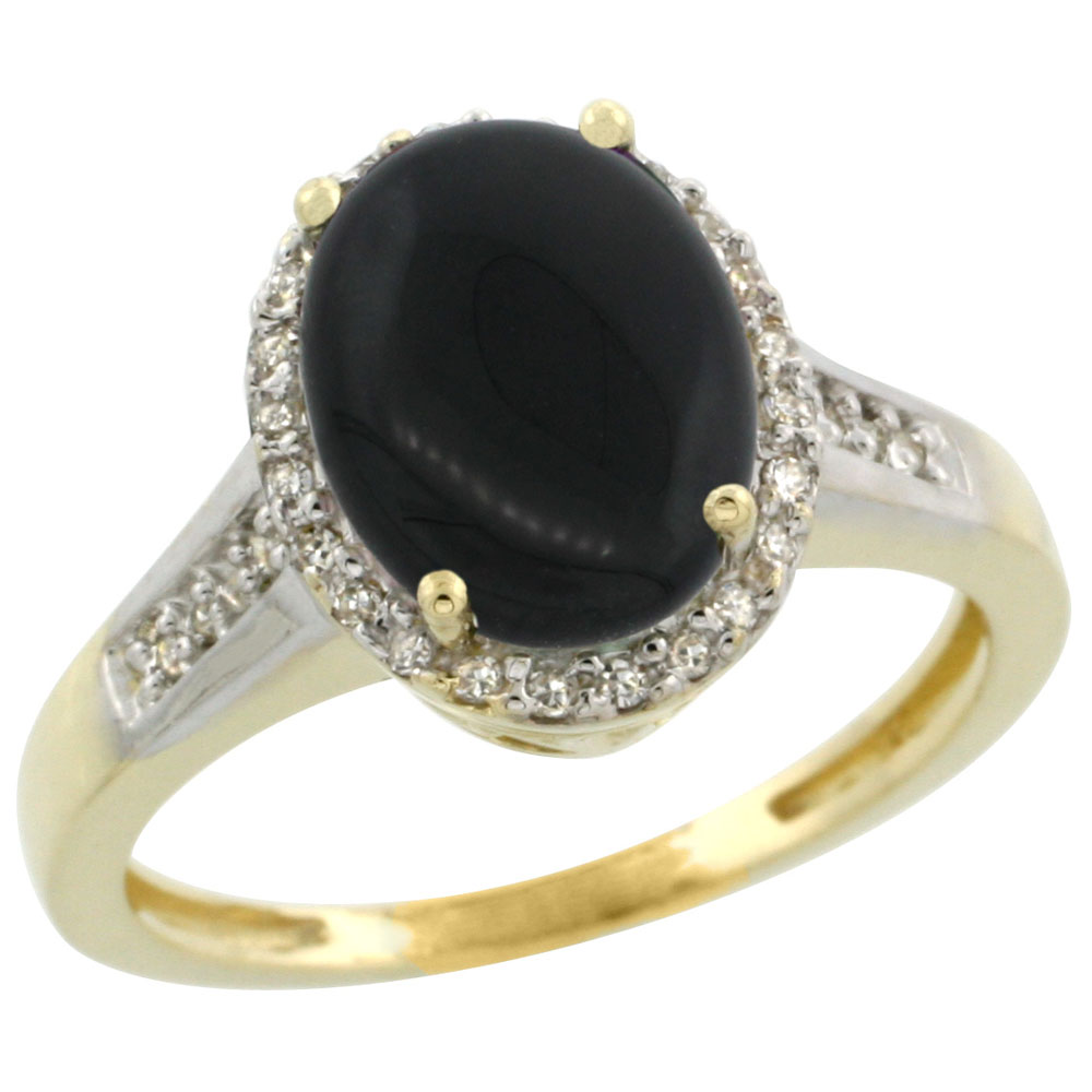 10K Yellow Gold Diamond Natural Black Onyx Engagement Ring Oval 10x8mm, sizes 5-10