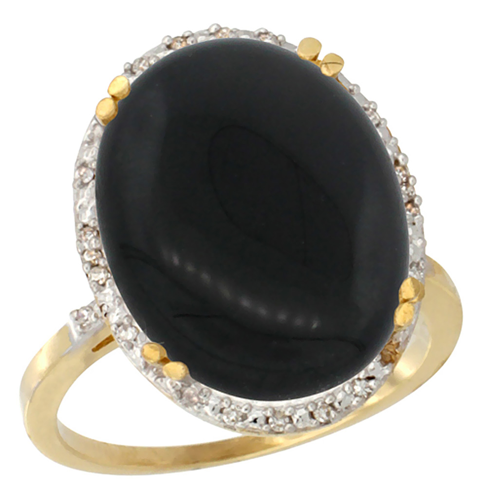10k Yellow Gold Natural Black Onyx Ring Large Oval 18x13mm Diamond Halo, sizes 5-10