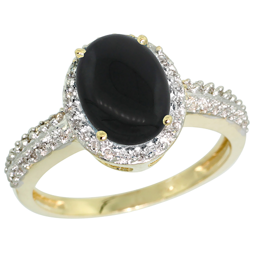 10K Yellow Gold Diamond Natural Black Onyx Ring Oval 9x7mm, sizes 5-10