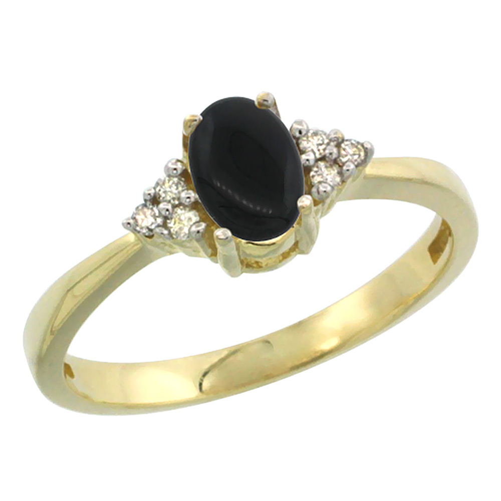 14K Yellow Gold Natural Black Onyx Ring Oval 6x4mm Diamond Accent, sizes 5-10