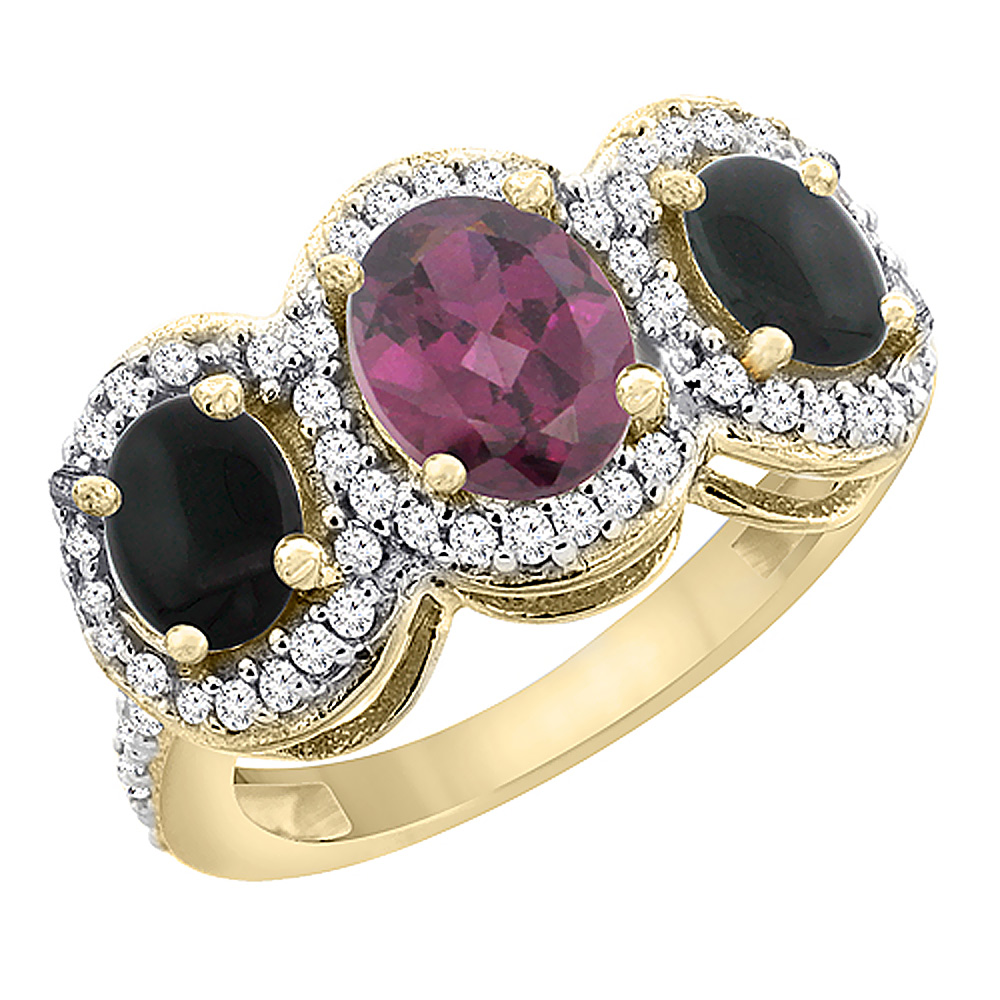 14K Yellow Gold Natural Rhodolite & Black Onyx 3-Stone Ring Oval Diamond Accent, sizes 5 - 10
