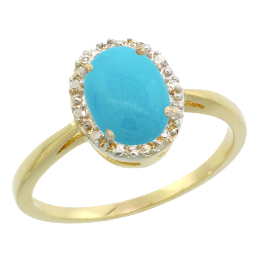 10K Yellow Gold Natural Sleeping Beauty Turquoise Diamond  Halo Ring Oval 8X6mm, sizes 5-10