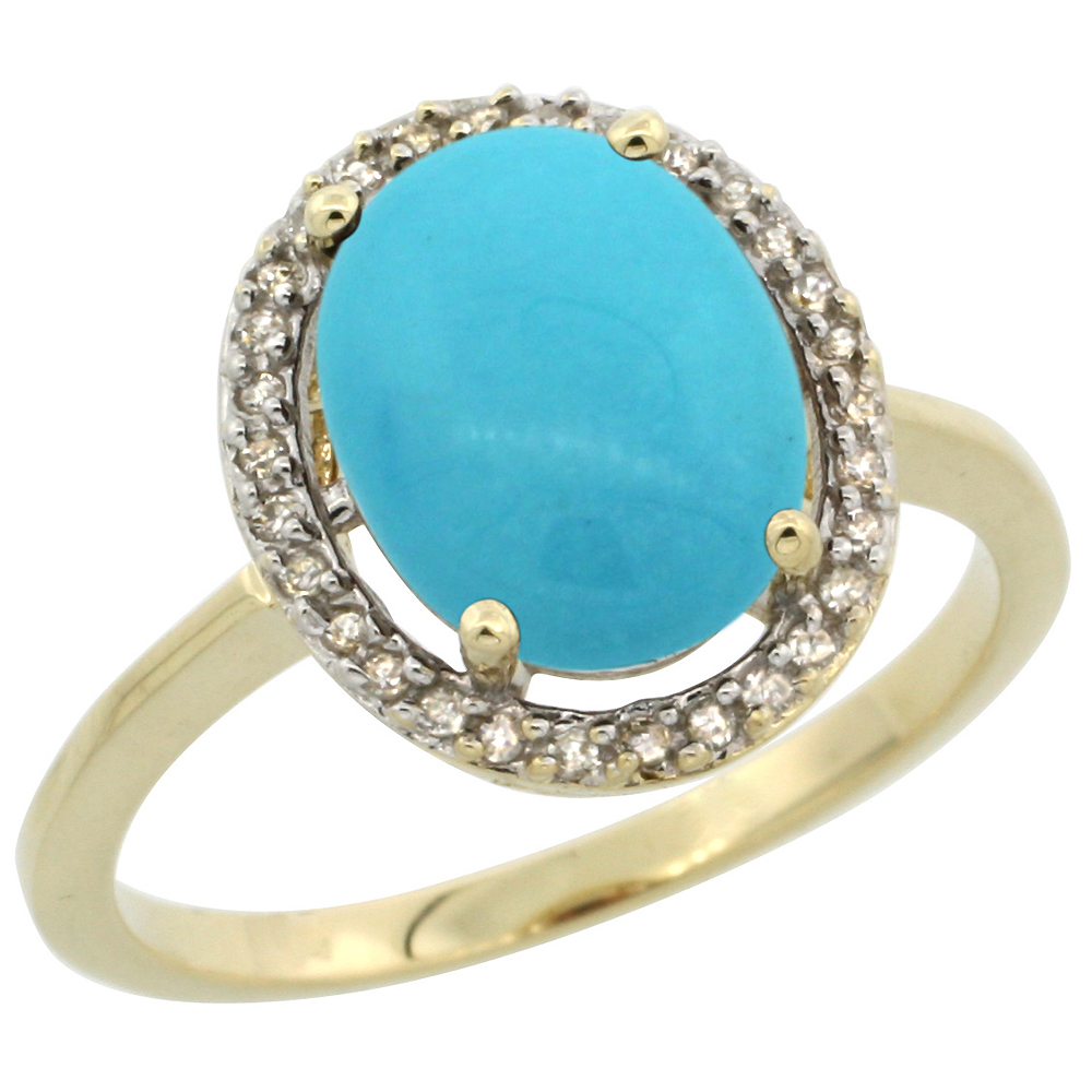 10K Yellow Gold Natural Diamond Sleeping Beauty Turquoise Halo Engagement Ring Oval 10x8 mm, sizes 5 10
