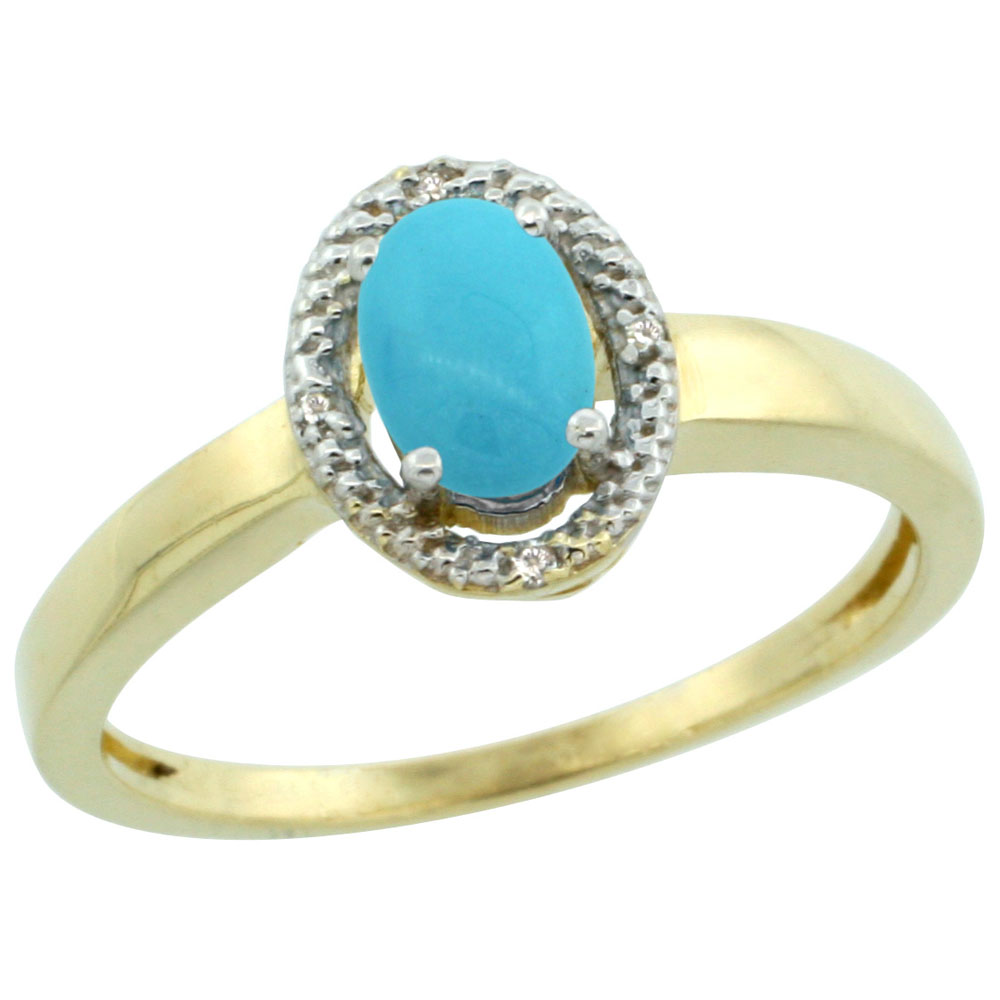 14K Yellow Gold Natural Diamond Halo Sleeping Beauty Turquoise Engagement Ring Oval 6X4 mm, sizes 5-10