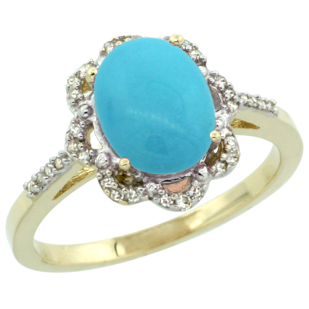 10K Yellow Gold Natural Diamond Halo Turquoise Engagement Ring Oval 9x7mm, sizes 5-10