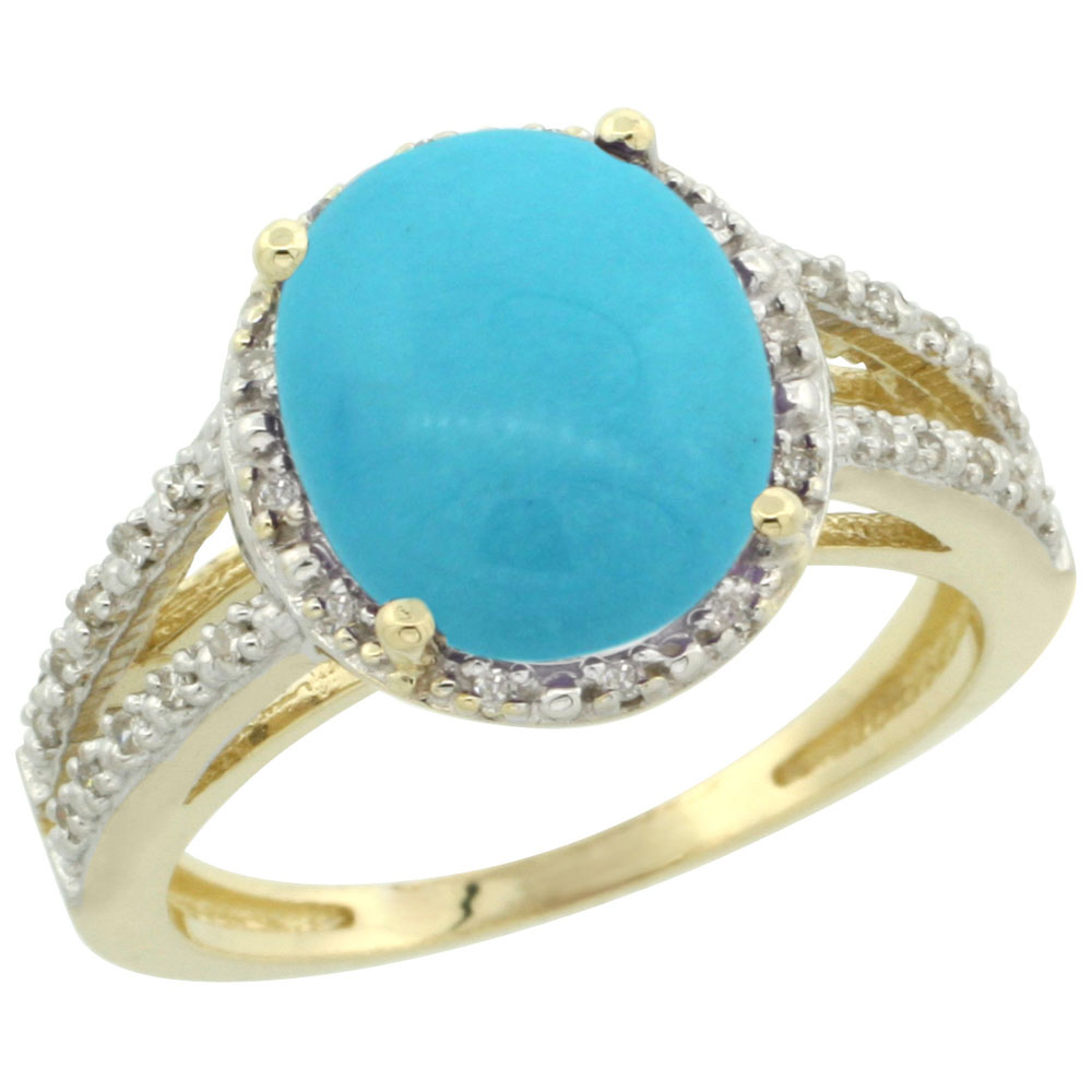 10K Yellow Gold Diamond Natural Sleeping Beauty Turquoise Ring Oval 11x9mm, sizes 5-10