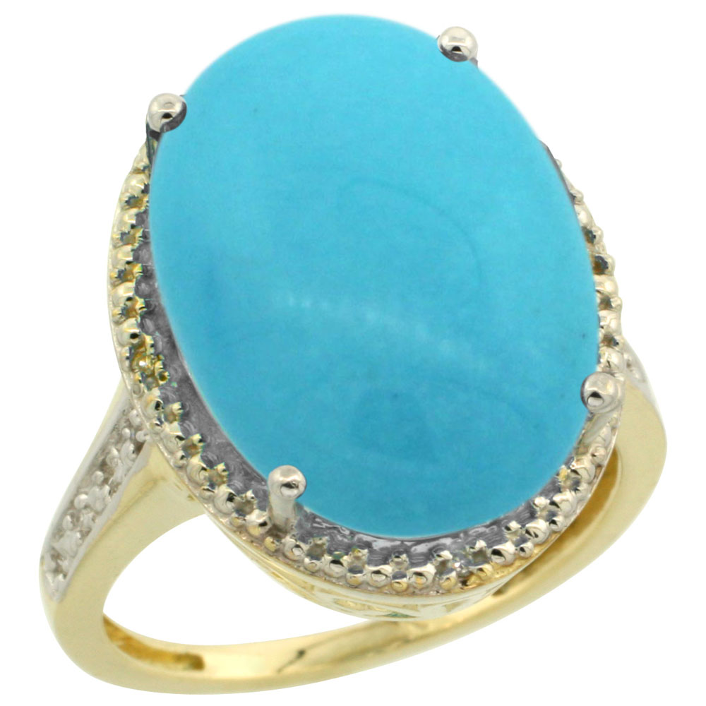 14K Yellow Gold Natural Diamond Sleeping Beauty Turquoise Ring Oval 18x13mm, sizes 5-10