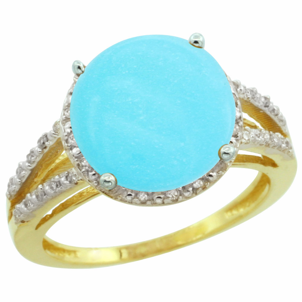 10K Yellow Gold Diamond Natural Turquoise Ring Round 11mm, sizes 5-10